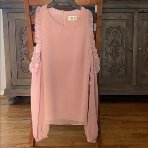 Blush Cold shoulder blouse